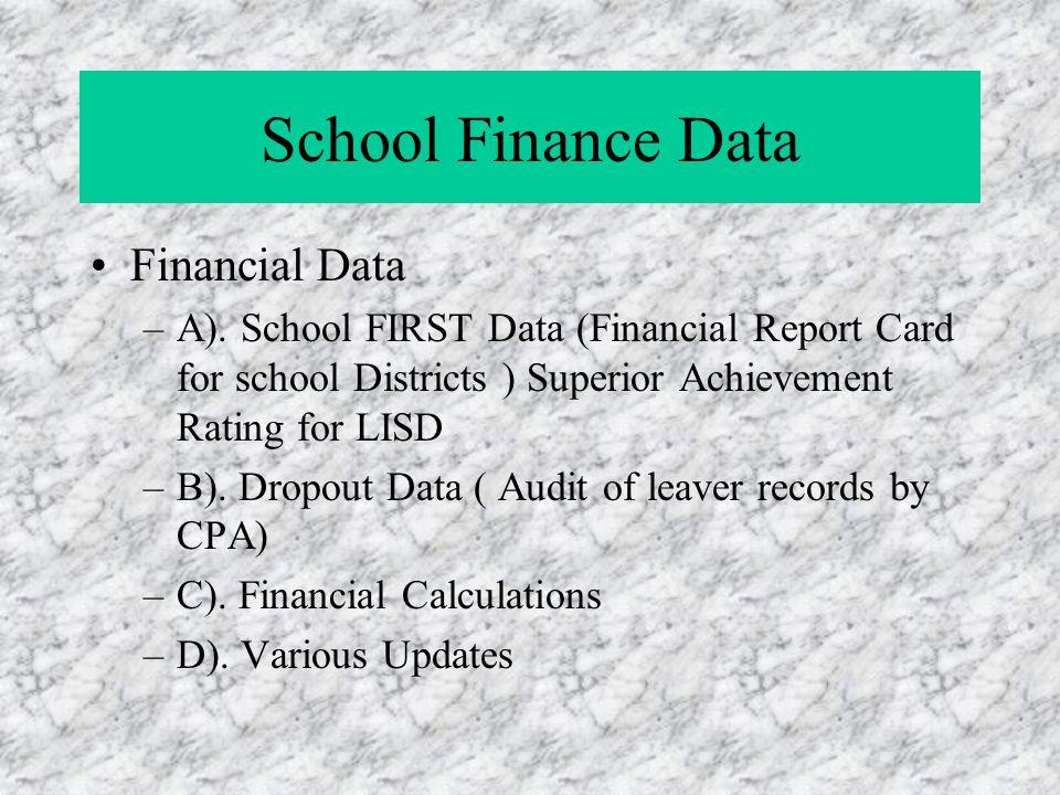 School Finance Data Financial Data –A).