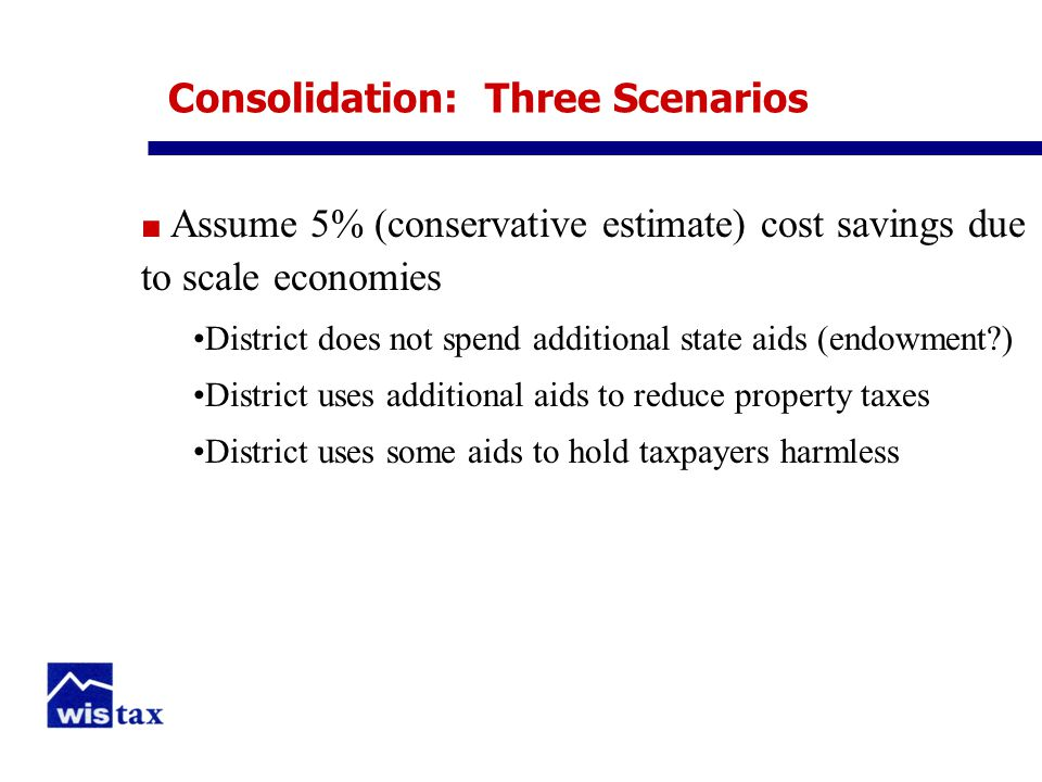 Consolidation: Three Scenarios ■ Assume 5% (conservative estimate) cost savings due to scale economies District does not spend additional state aids (endowment ) District uses additional aids to reduce property taxes District uses some aids to hold taxpayers harmless