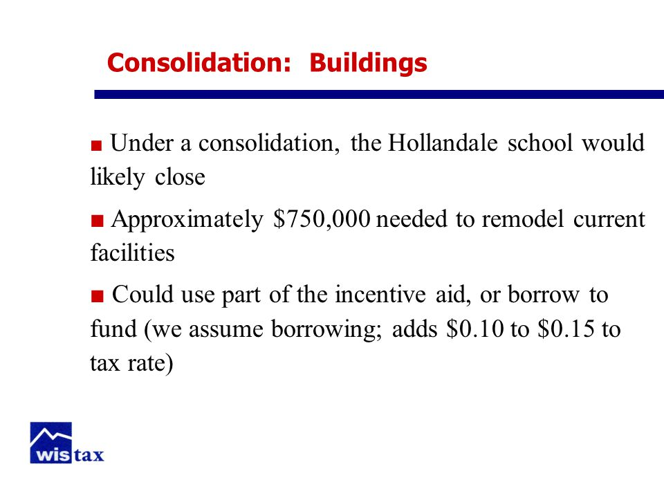 Consolidation: Buildings ■ Under a consolidation, the Hollandale school would likely close ■ Approximately $750,000 needed to remodel current facilities ■ Could use part of the incentive aid, or borrow to fund (we assume borrowing; adds $0.10 to $0.15 to tax rate)