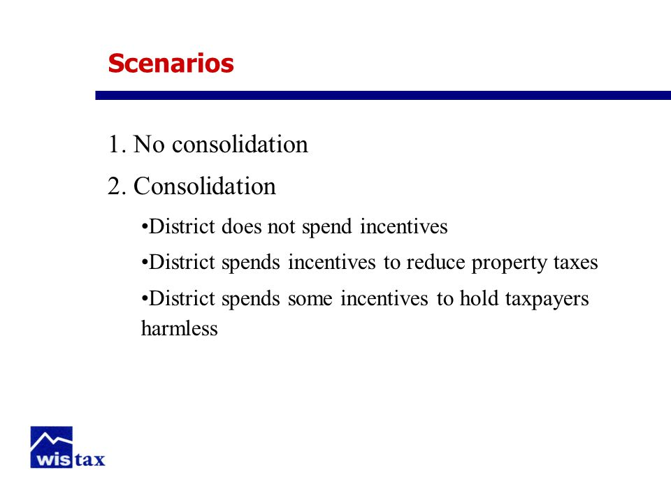 Scenarios 1. No consolidation 2.