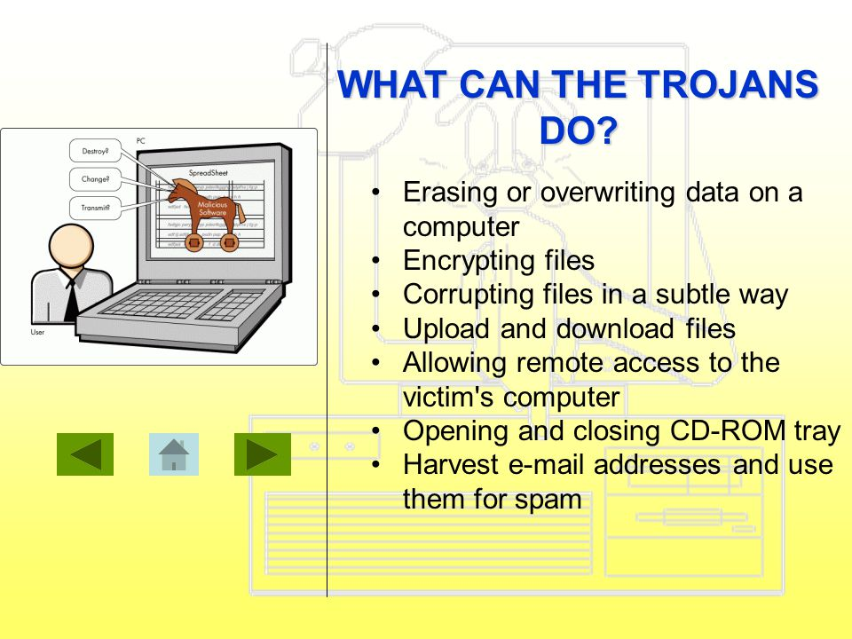 Erasing or overwriting data on a computer Encrypting files Corrupting files in a subtle way Upload and download files Allowing remote access to the victim s computer Opening and closing CD-ROM tray Harvest e-mail addresses and use them for spam WHAT CAN THE TROJANS DO?