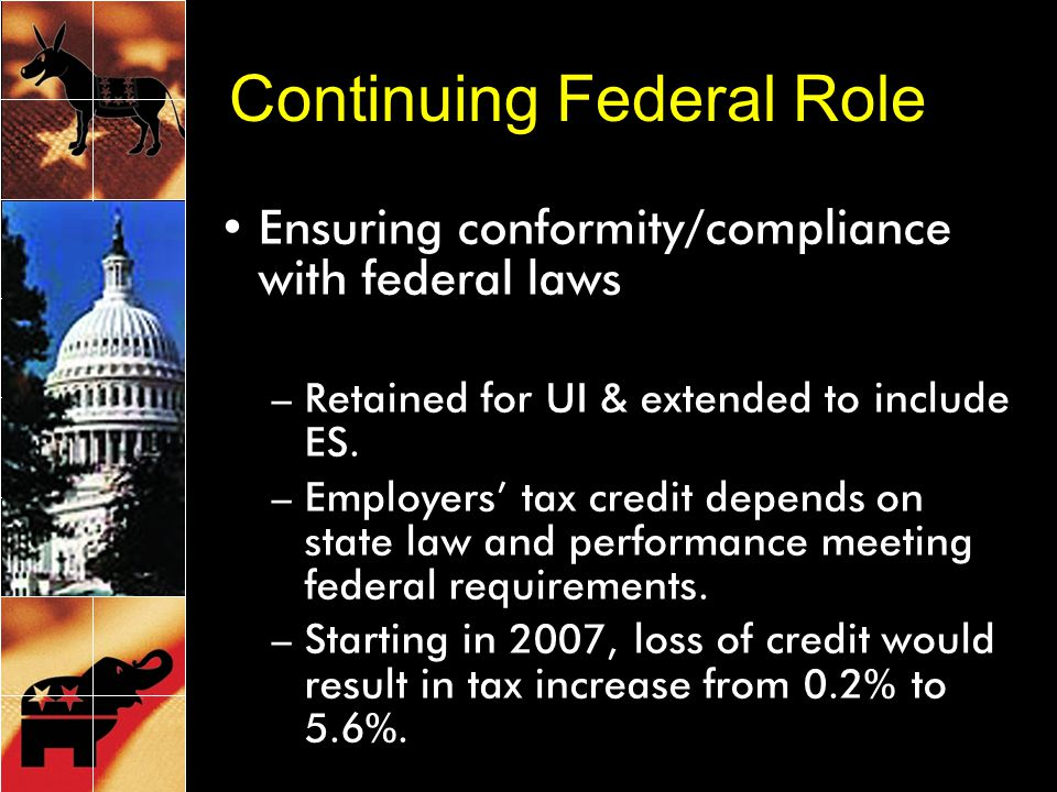 Continuing Federal Role Ensuring conformity/compliance with federal laws –Retained for UI & extended to include ES.
