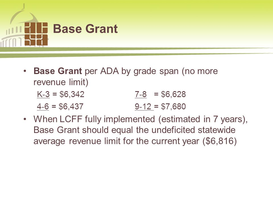Base Grant Base Grant per ADA by grade span (no more revenue limit) K-3 = $6,342 7-8 = $6,628 4-6 = $6,437 9-12 = $7,680 When LCFF fully implemented (estimated in 7 years), Base Grant should equal the undeficited statewide average revenue limit for the current year ($6,816) 877.954.4357 www.sia-us.com4
