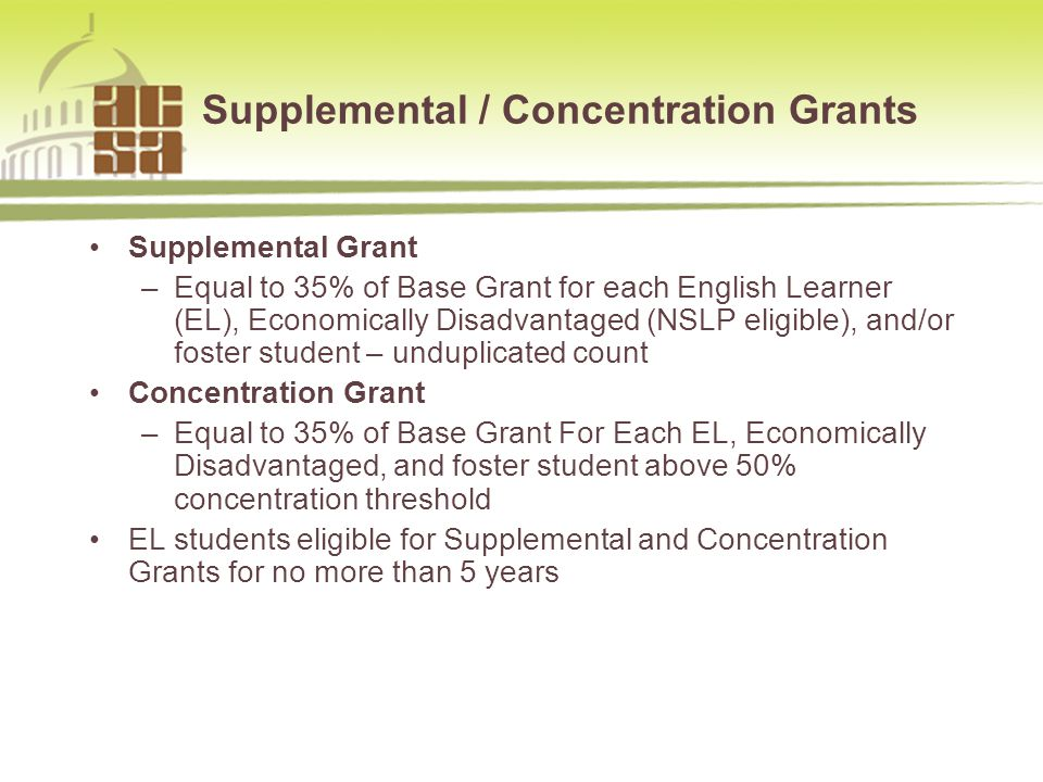 Supplemental / Concentration Grants Supplemental Grant –Equal to 35% of Base Grant for each English Learner (EL), Economically Disadvantaged (NSLP eligible), and/or foster student – unduplicated count Concentration Grant –Equal to 35% of Base Grant For Each EL, Economically Disadvantaged, and foster student above 50% concentration threshold EL students eligible for Supplemental and Concentration Grants for no more than 5 years 877.954.4357 www.sia-us.com5