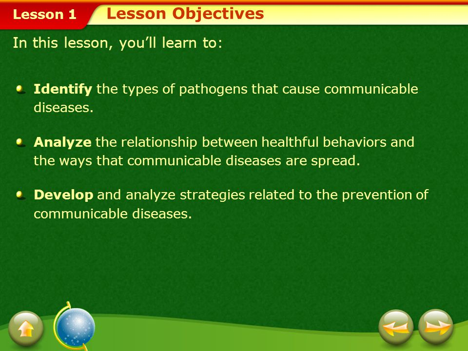 Lesson 1 Lesson Objectives Identify the types of pathogens that cause communicable diseases.