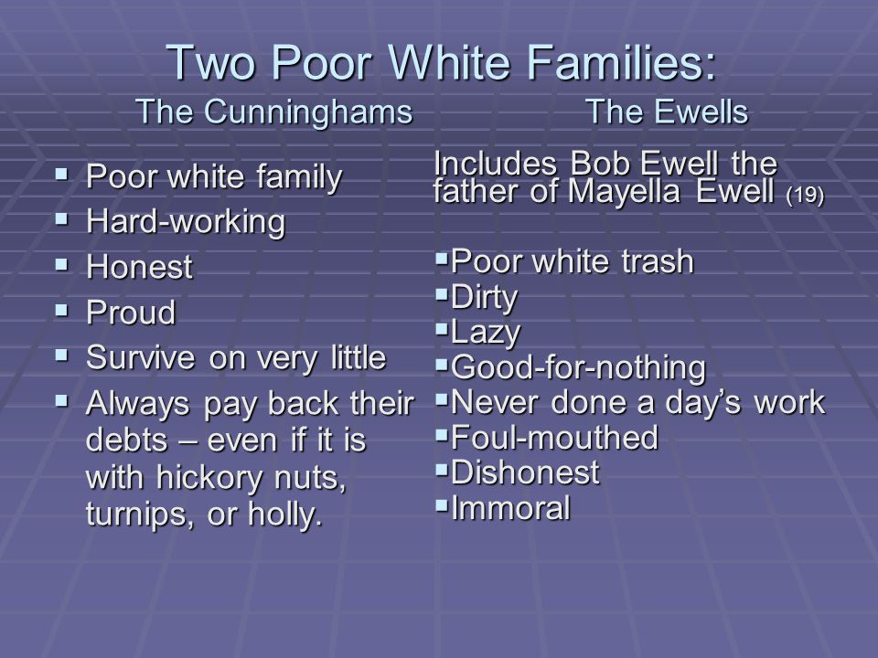 Two Poor White Families: The Cunninghams The Ewells  Poor white family  Hard-working  Honest  Proud  Survive on very little  Always pay back their debts – even if it is with hickory nuts, turnips, or holly.