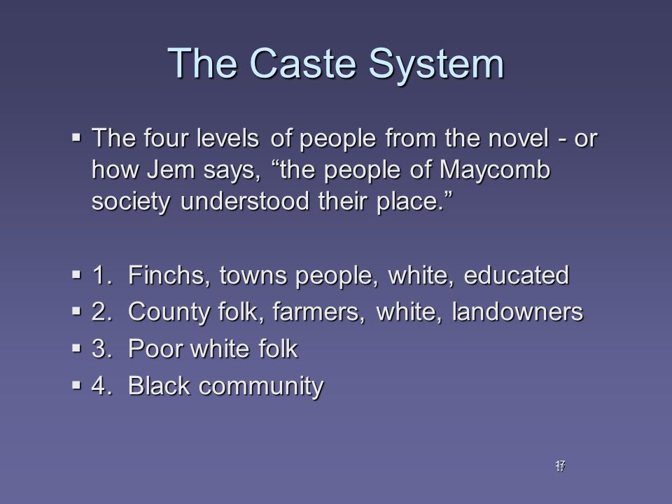 17 The Caste System  The four levels of people from the novel - or how Jem says, the people of Maycomb society understood their place.  1.