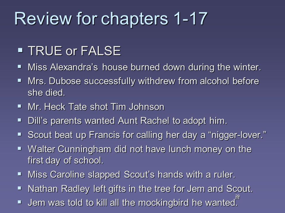 20 Review for chapters 1-17  TRUE or FALSE  Miss Alexandra's house burned down during the winter.