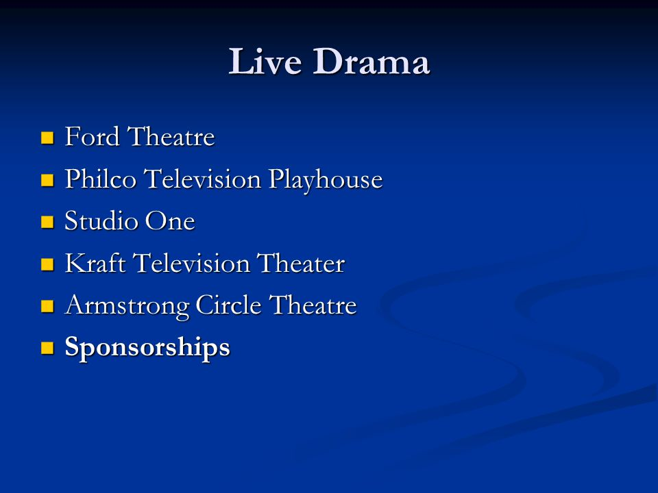 Live Drama Ford Theatre Ford Theatre Philco Television Playhouse Philco Television Playhouse Studio One Studio One Kraft Television Theater Kraft Television Theater Armstrong Circle Theatre Armstrong Circle Theatre Sponsorships Sponsorships