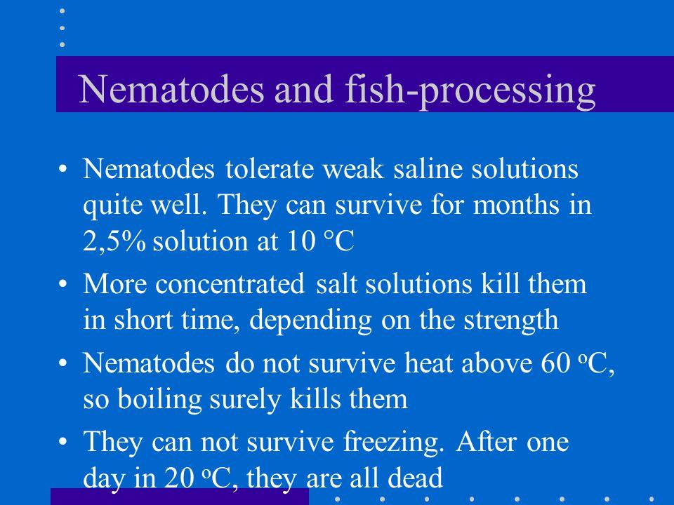 Nematodes and fish-processing Nematodes tolerate weak saline solutions quite well.