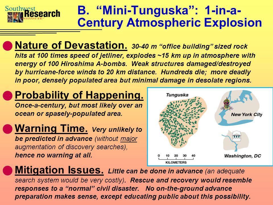 B. Mini-Tunguska : 1-in-a- Century Atmospheric Explosion Nature of Devastation.
