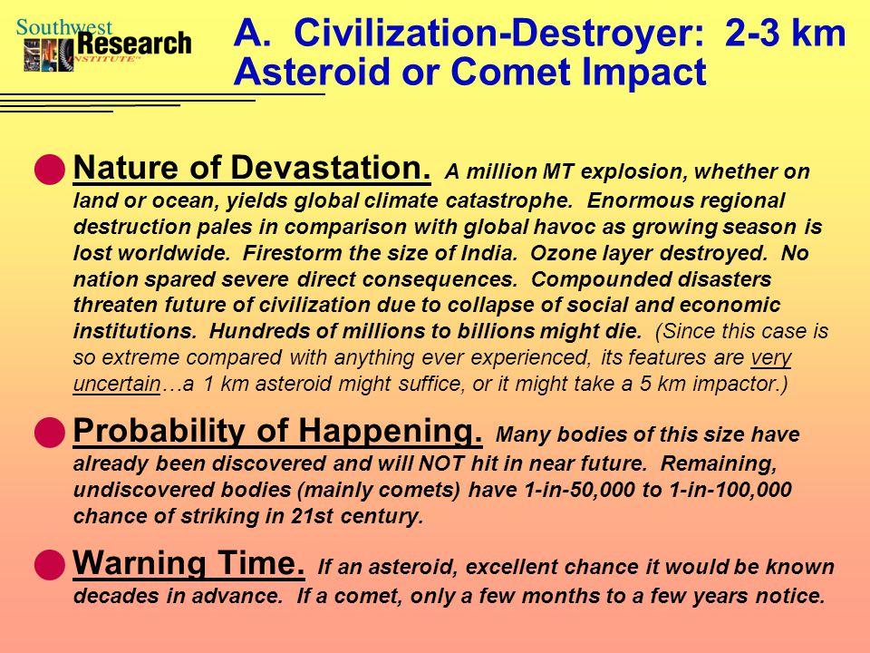 A. Civilization-Destroyer: 2-3 km Asteroid or Comet Impact Nature of Devastation.