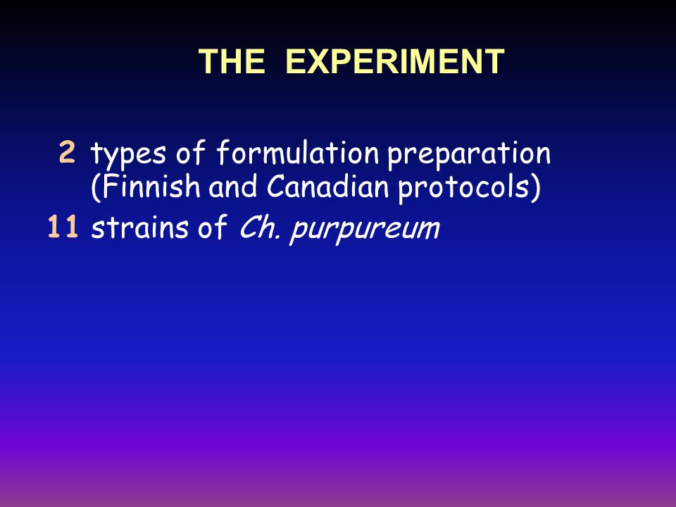 2 types of formulation preparation (Finnish and Canadian protocols) 11 strains of Ch.
