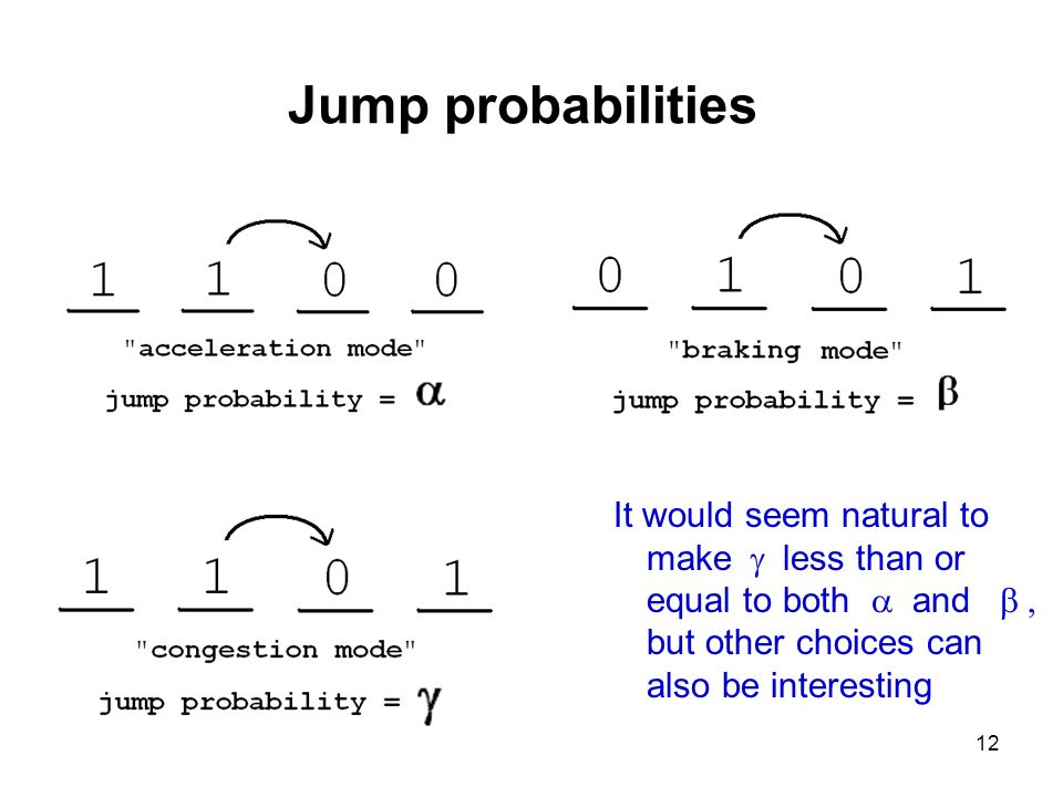 12 Jump probabilities It would seem natural to make  less than or equal to both  and  but other choices can also be interesting