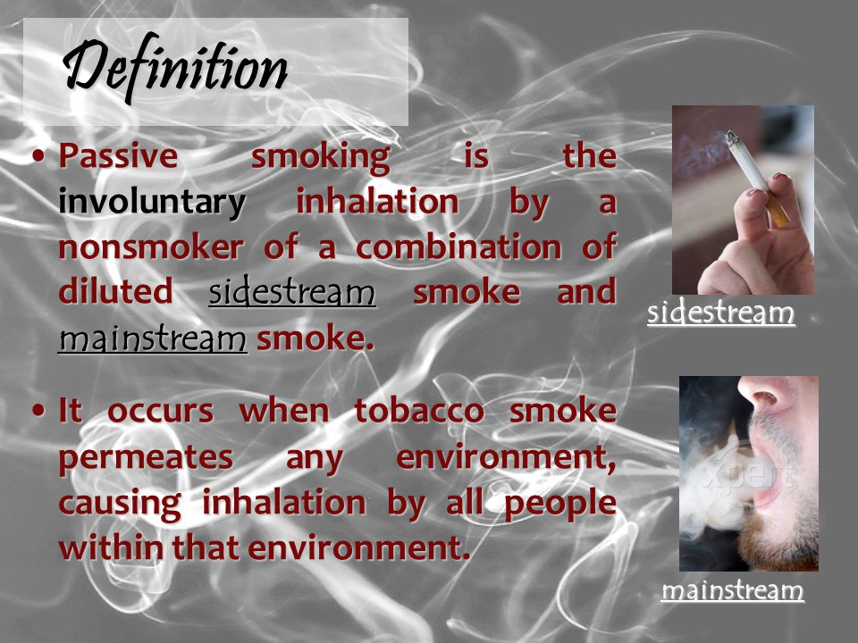 Definition Passive smoking is the involuntary inhalation by a nonsmoker of a combination of diluted sidestream smoke and mainstream smoke.Passive smoking is the involuntary inhalation by a nonsmoker of a combination of diluted sidestream smoke and mainstream smoke.