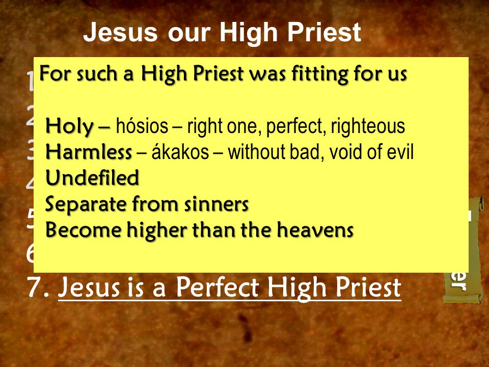 Jesus our High Priest 1.Jesus is a Sovereign High Priest 2.Jesus is a Superior High Priest 3.Jesus is a Effective High Priest 4.Jesus is a Exclusive High Priest 5.