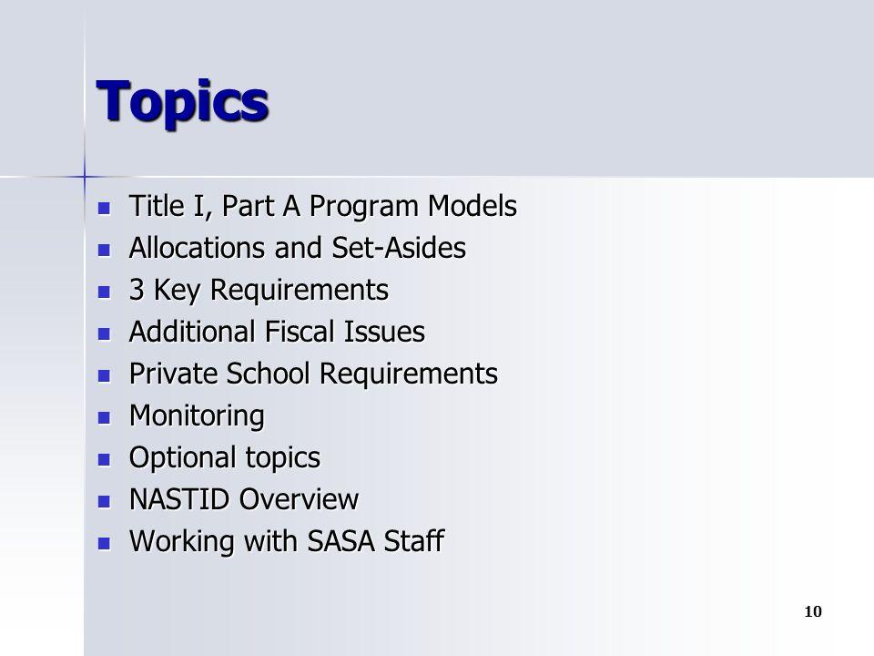 Topics Title I, Part A Program Models Title I, Part A Program Models Allocations and Set-Asides Allocations and Set-Asides 3 Key Requirements 3 Key Re