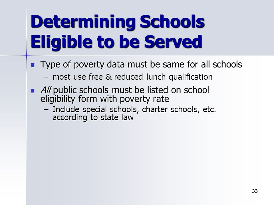 Determining Schools Eligible to be Served Type of poverty data must be same for all schools Type of poverty data must be same for all schools –most use free & reduced lunch qualification All public schools must be listed on school eligibility form with poverty rate All public schools must be listed on school eligibility form with poverty rate –Include special schools, charter schools, etc.