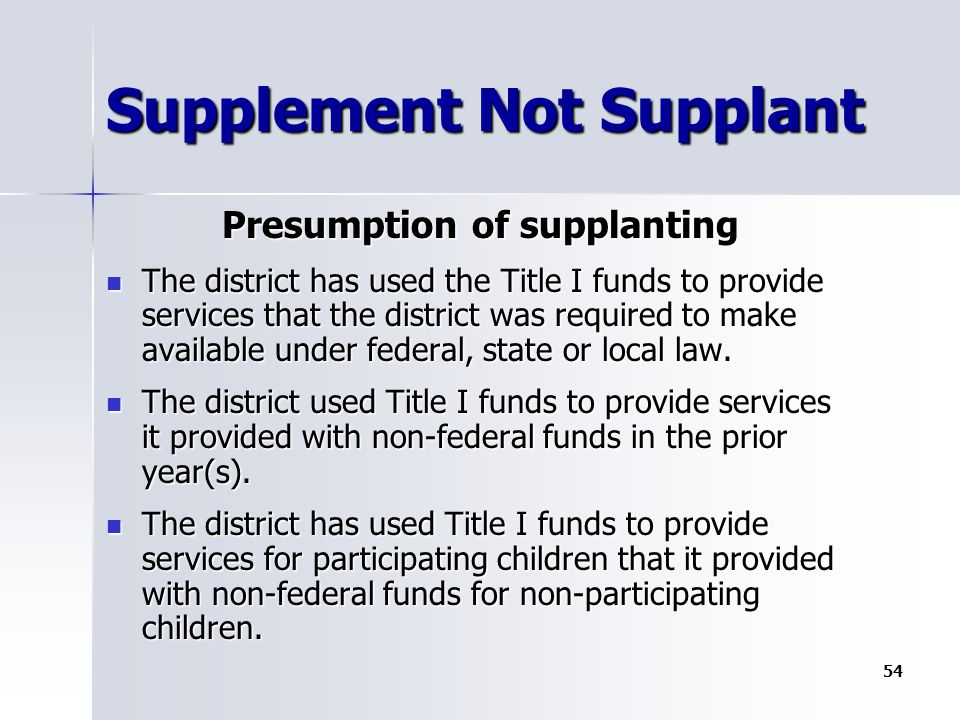 Supplement Not Supplant Presumption of supplanting The district has used the Title I funds to provide services that the district was required to make available under federal, state or local law.