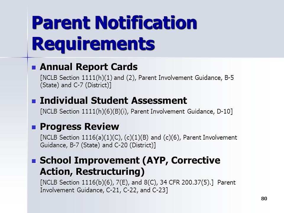 Parent Notification Requirements Annual Report Cards Annual Report Cards [NCLB Section 1111(h)(1) and (2), Parent Involvement Guidance, B-5 (State) and C-7 (District)] Individual Student Assessment Individual Student Assessment [NCLB Section 1111(h)(6)(B)(i), Parent Involvement Guidance, D-10] Progress Review Progress Review [NCLB Section 1116(a)(1)(C), (c)(1)(B) and (c)(6), Parent Involvement Guidance, B-7 (State) and C-20 (District)] School Improvement (AYP, Corrective Action, Restructuring) School Improvement (AYP, Corrective Action, Restructuring) [NCLB Section 1116(b)(6), 7(E), and 8(C), 34 CFR 200.37(5).] Parent Involvement Guidance, C-21, C-22, and C-23] 80