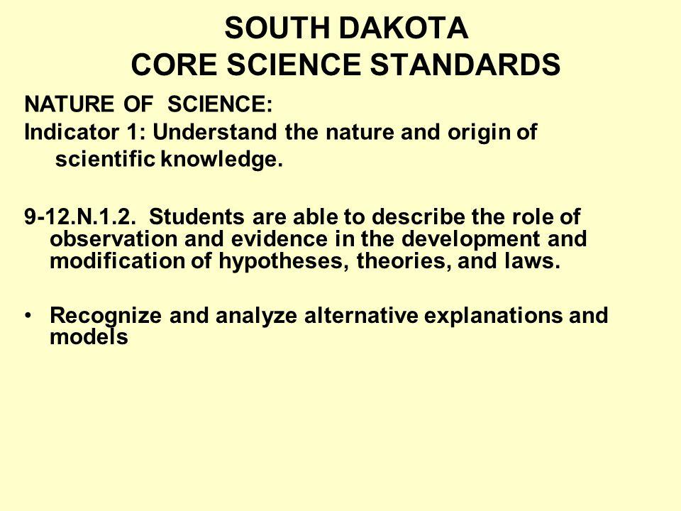 SOUTH DAKOTA CORE SCIENCE STANDARDS 9-12.N.1.2.