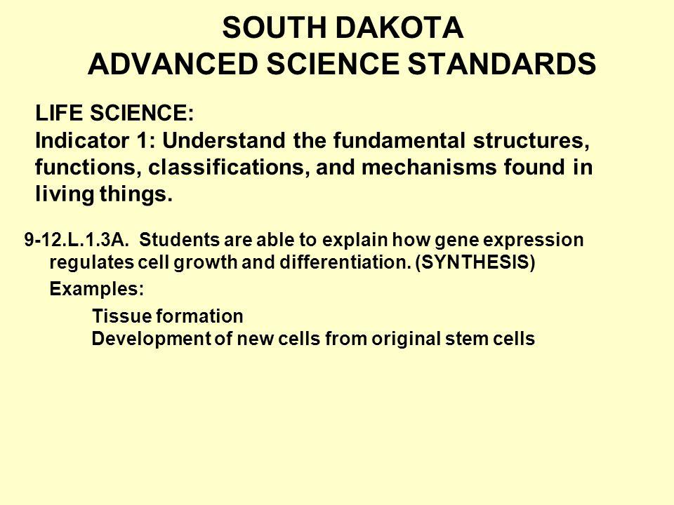 SOUTH DAKOTA ADVANCED SCIENCE STANDARDS 9-12.L.1.3A.