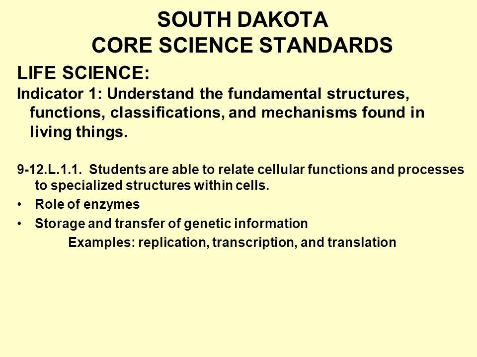 SOUTH DAKOTA CORE SCIENCE STANDARDS 9-12.L.1.1.