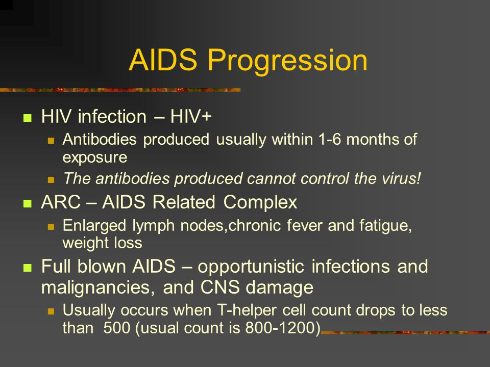 AIDS Pathology Virus attaches to the CD4+ protein on T- helper cells and destroys them Decreased T-helper cell count makes the patient prone to opportunistic infections, malignancies not normally seen in patients with intact immune systems, and direct CNS destruction