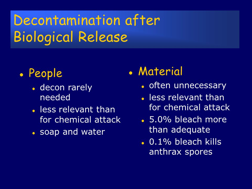 Decon/Infection Control Decon : The process of removing or neutralizing an external hazard from a person, the property or the environment. Disinfectio