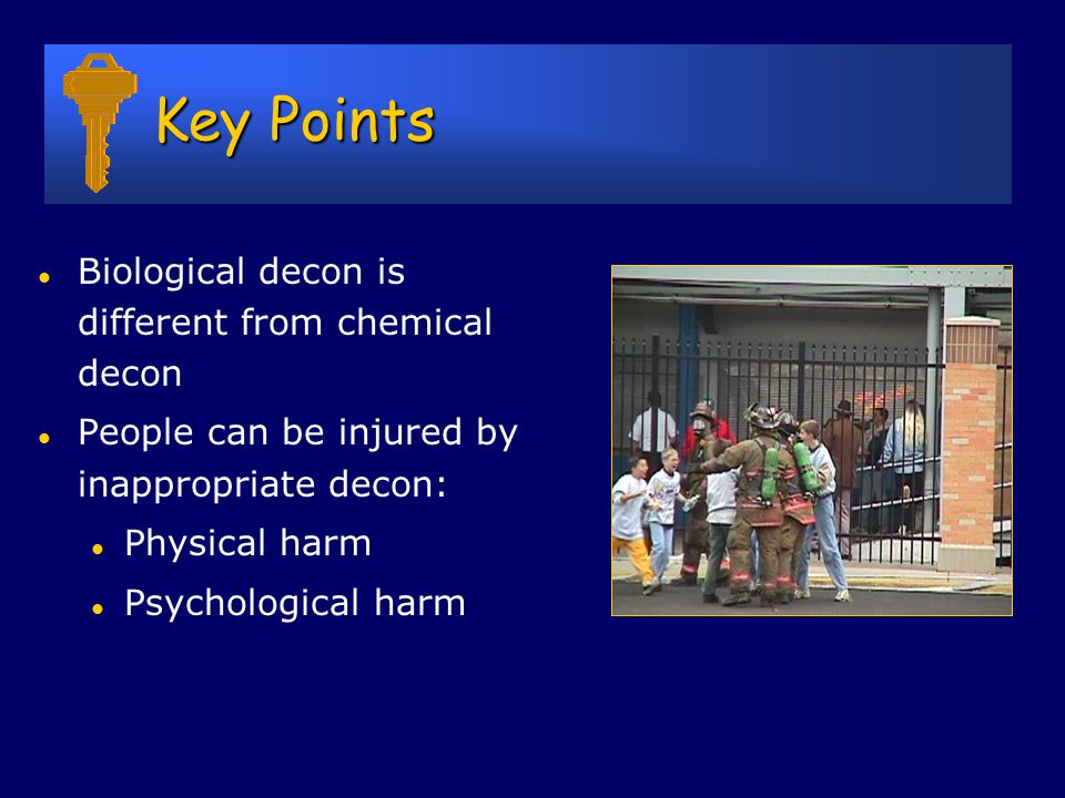 Decontamination after Biological Release Material l often unnecessary l less relevant than for chemical attack l 5.0% bleach more than adequate l 0.1% bleach kills anthrax spores l People l decon rarely needed l less relevant than for chemical attack l soap and water