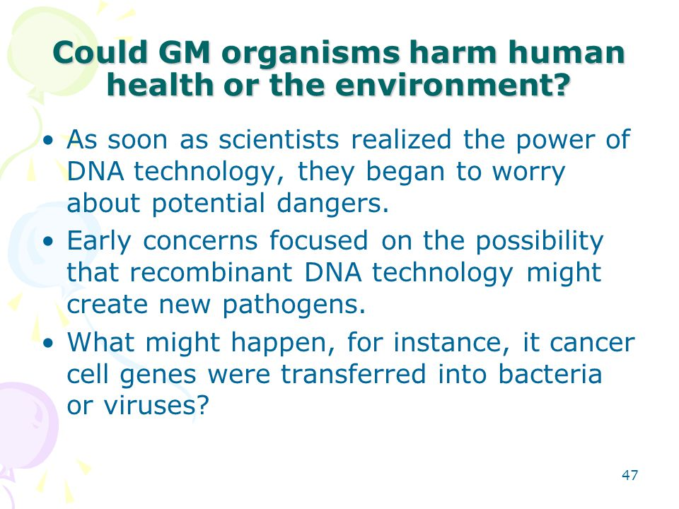 Could GM organisms harm human health or the environment? As soon as scientists realized the power of DNA technology, they began to worry about potenti
