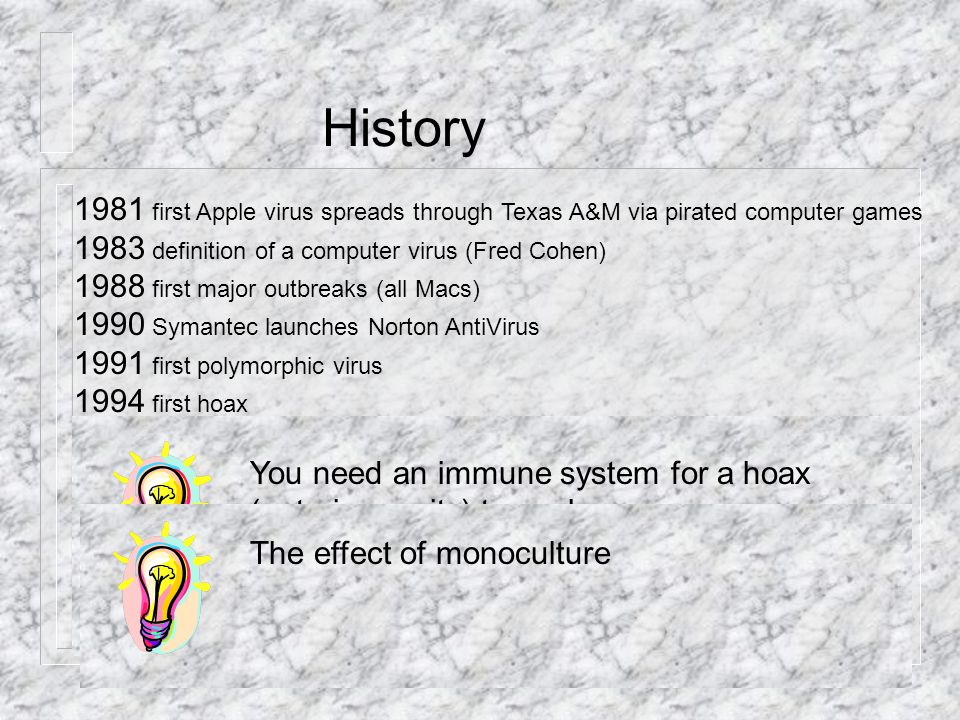 History 1981 first Apple virus spreads through Texas A&M via pirated computer games 1983 definition of a computer virus (Fred Cohen) 1988 first major outbreaks (all Macs) 1990 Symantec launches Norton AntiVirus 1991 first polymorphic virus 1994 first hoax 1995 Word viruses predominate 1996 ff Windows viruses predominate 1999 Melissa, first mass-mailing worm.