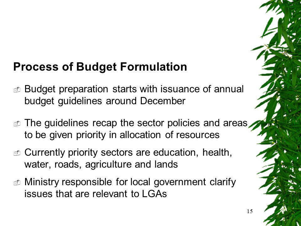 15 Process of Budget Formulation  Budget preparation starts with issuance of annual budget guidelines around December  The guidelines recap the sect