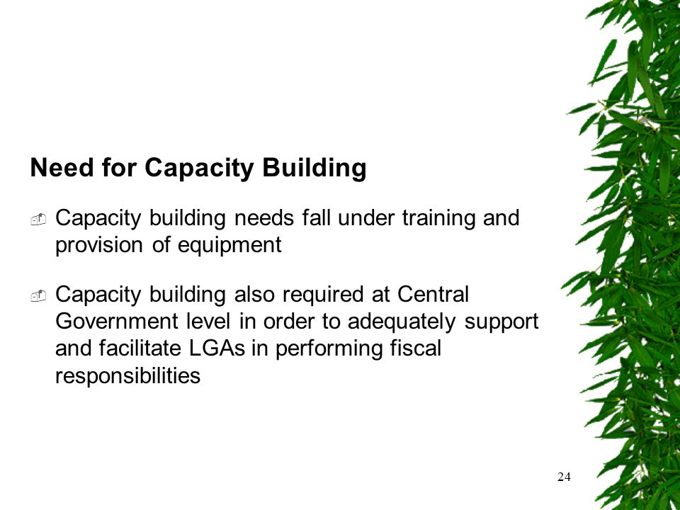 24 Need for Capacity Building  Capacity building needs fall under training and provision of equipment  Capacity building also required at Central Go