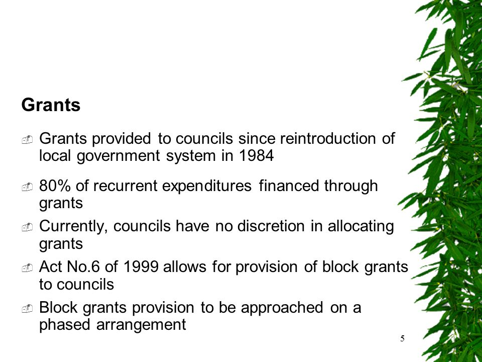 5 Grants  Grants provided to councils since reintroduction of local government system in 1984  80% of recurrent expenditures financed through grants