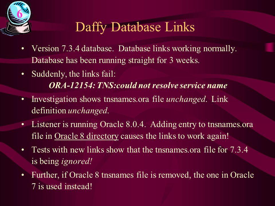 Daffy Database Links Version 7.3.4 database. Database links working normally.
