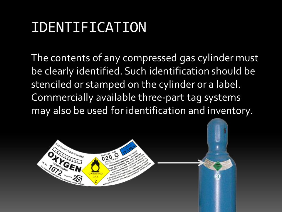 The contents of any compressed gas cylinder must be clearly identified.