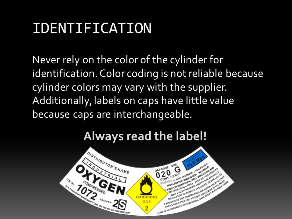 Never rely on the color of the cylinder for identification.