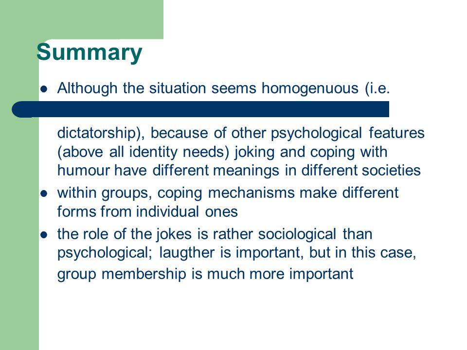 Summary Although the situation seems homogenuous (i.e.