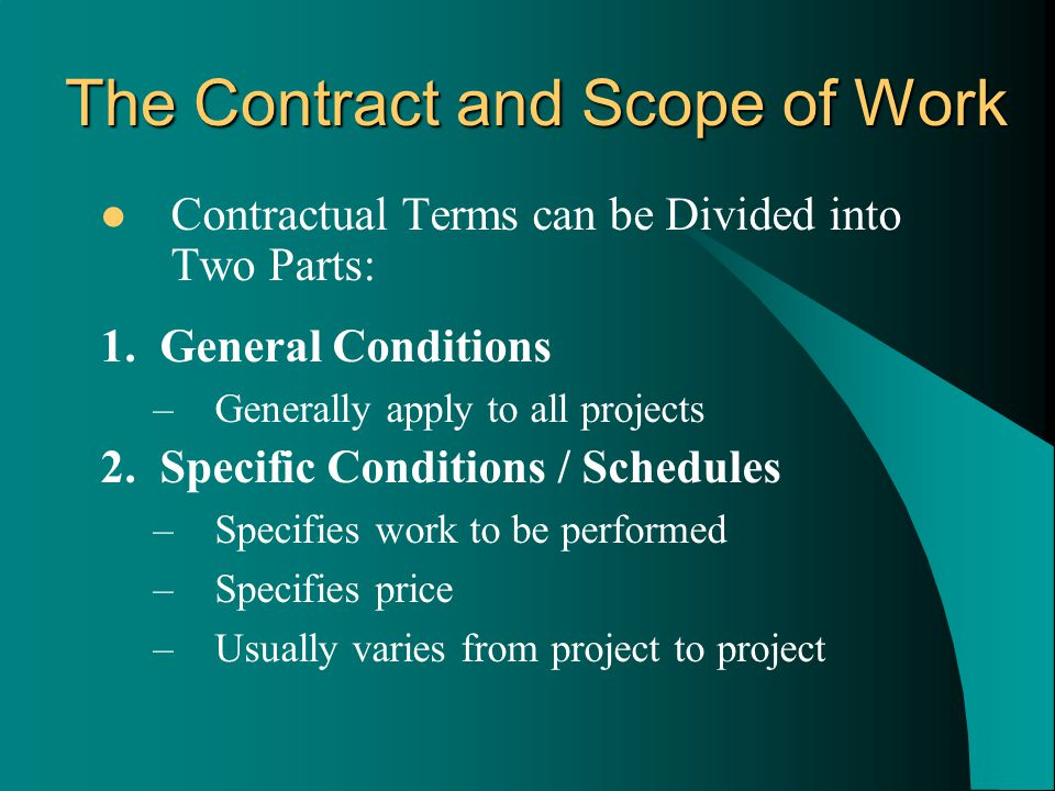 Contractual Terms can be Divided into Two Parts: 1.