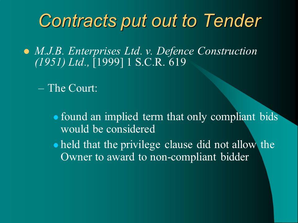 M.J.B.Enterprises Ltd. v. Defence Construction (1951) Ltd., [1999] 1 S.C.R.