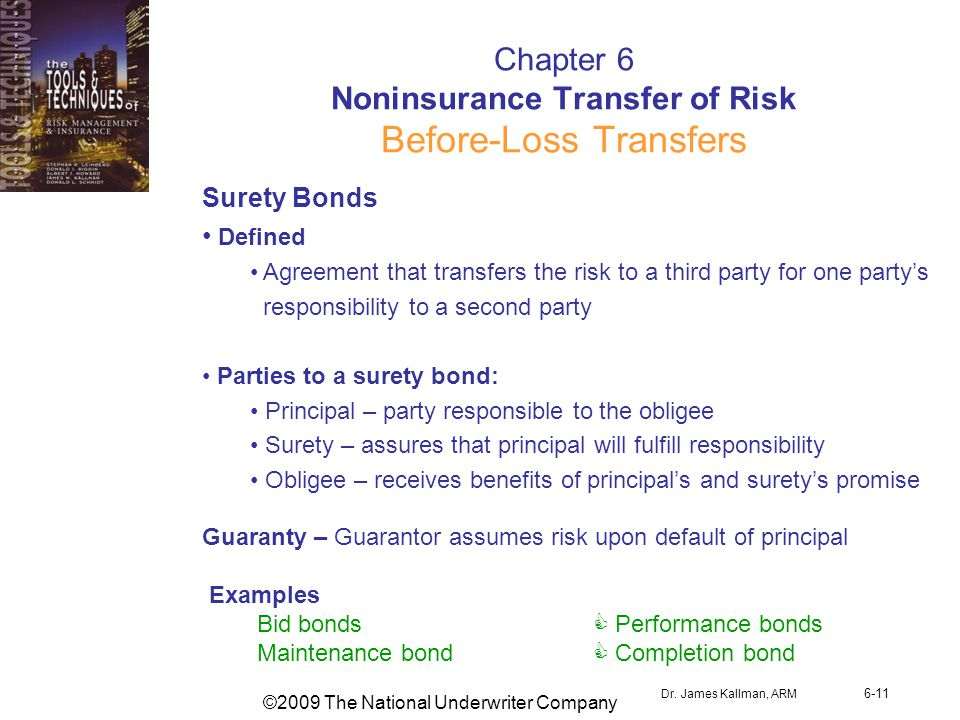 ©2009 The National Underwriter Company Dr. James Kallman, ARM 6-11 Chapter 6 Noninsurance Transfer of Risk Before-Loss Transfers Surety Bonds Defined