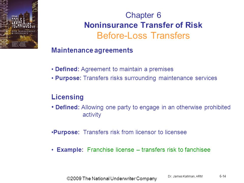 ©2009 The National Underwriter Company Dr. James Kallman, ARM 6-14 Chapter 6 Noninsurance Transfer of Risk Before-Loss Transfers Maintenance agreement