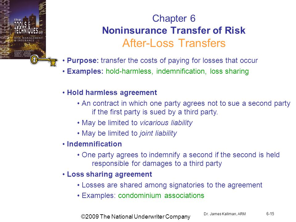 ©2009 The National Underwriter Company Dr. James Kallman, ARM 6-15 Chapter 6 Noninsurance Transfer of Risk After-Loss Transfers Purpose: transfer the