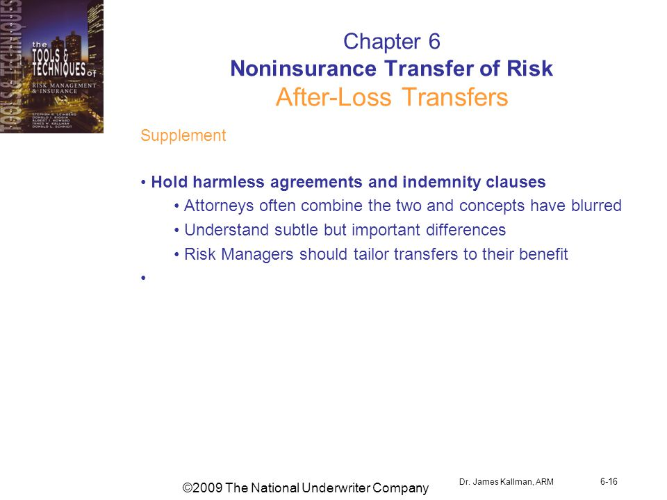 ©2009 The National Underwriter Company Dr. James Kallman, ARM 6-16 Chapter 6 Noninsurance Transfer of Risk After-Loss Transfers Supplement Hold harmle