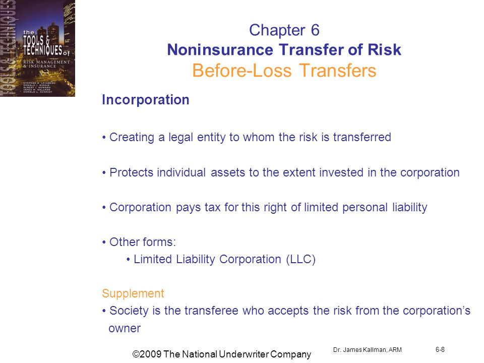 ©2009 The National Underwriter Company Dr. James Kallman, ARM 6-8 Chapter 6 Noninsurance Transfer of Risk Before-Loss Transfers Incorporation Creating