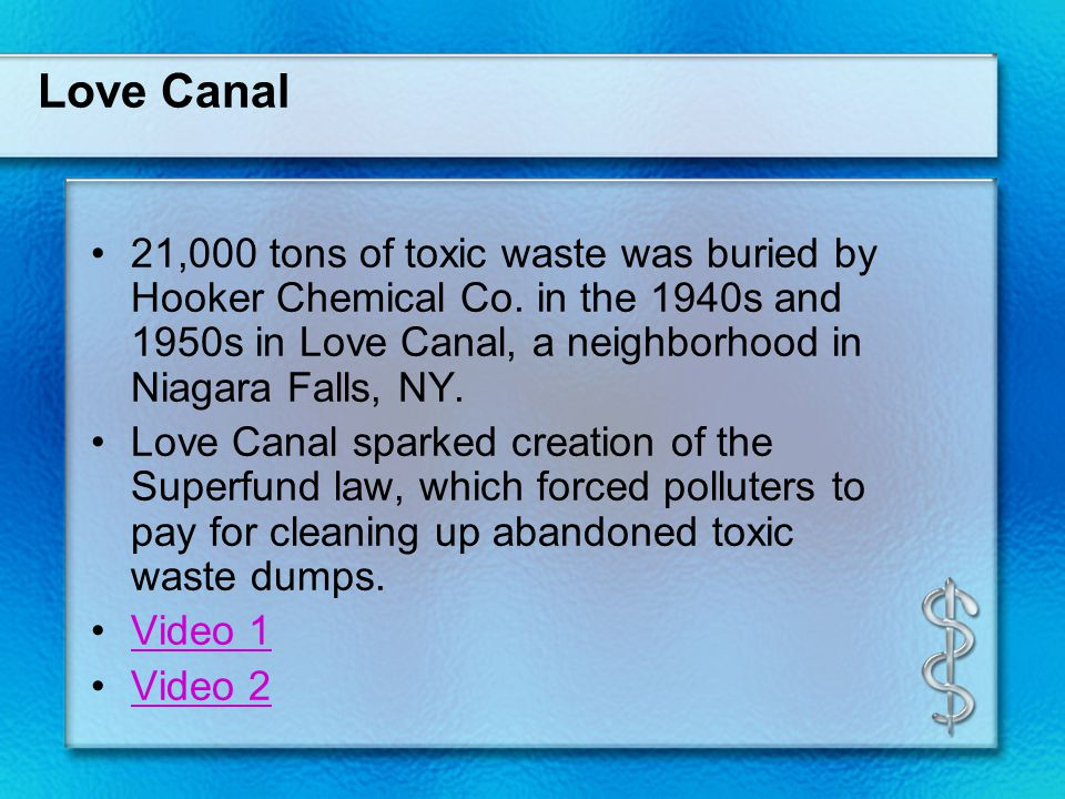Love Canal 21,000 tons of toxic waste was buried by Hooker Chemical Co.