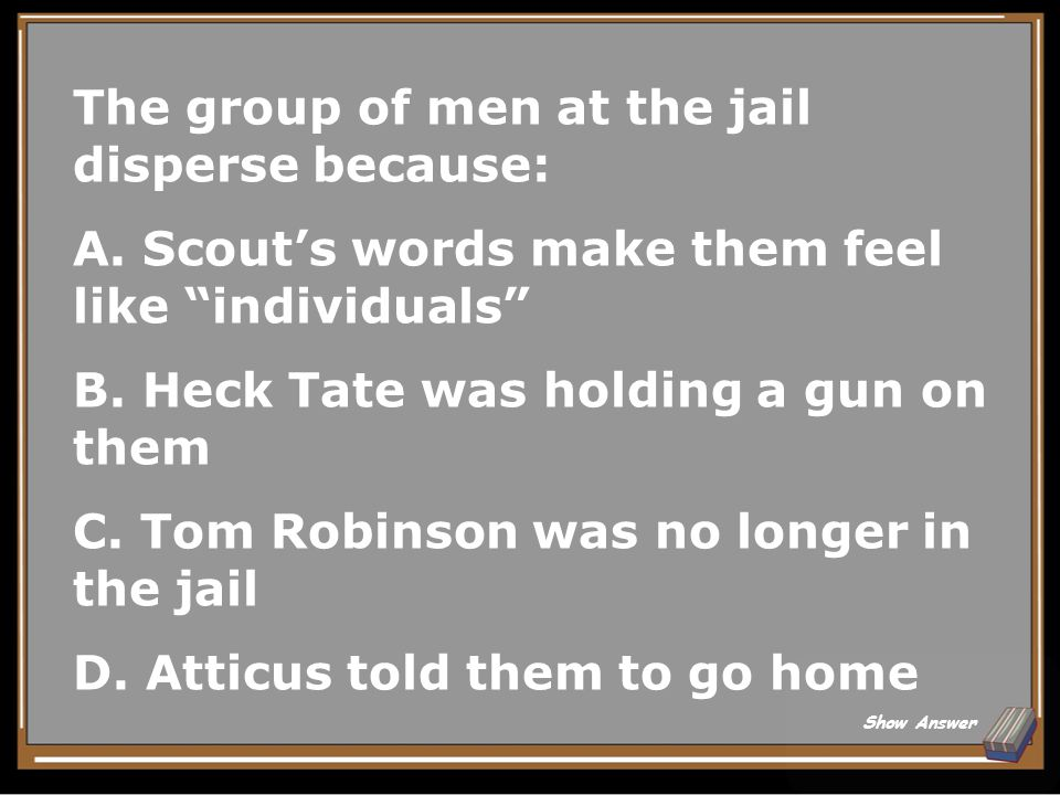 True or False When the men come to lynch Tom Robinson, Mr.