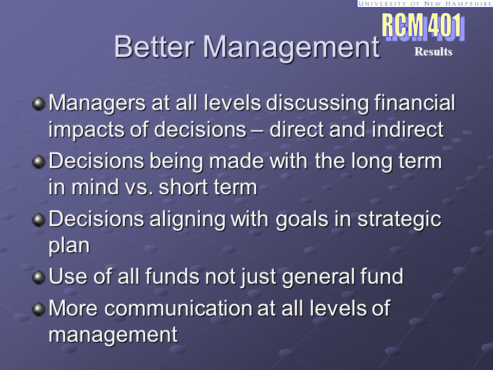 Better Management Managers at all levels discussing financial impacts of decisions – direct and indirect Decisions being made with the long term in mind vs.