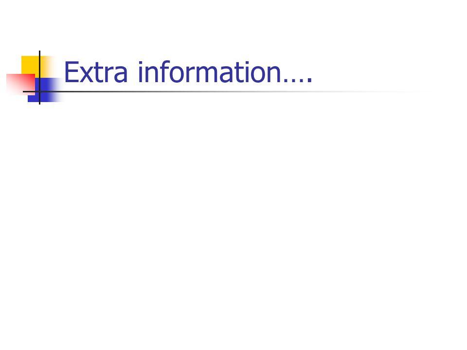 Extra information….